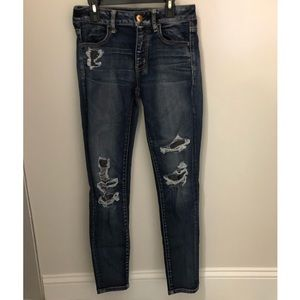 American eagle ripped jeans with patches